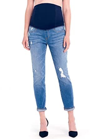 1f1161ea1bd79 Ingrid & Isabel Mia Boyfriend Denim with Crossover Panel Maternity Jeans at Amazon  Women's Clothing store: