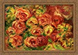 Armful of Roses 40x28 Large Gold Ornate Wood Framed Canvas Art by Pierre Auguste Renoir