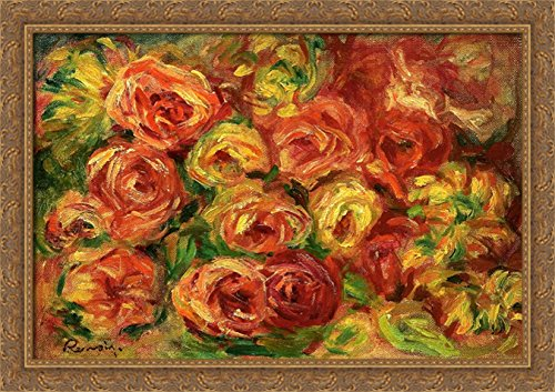 Armful of Roses 40x28 Large Gold Ornate Wood Framed Canvas Art by Pierre Auguste Renoir by ArtDirect