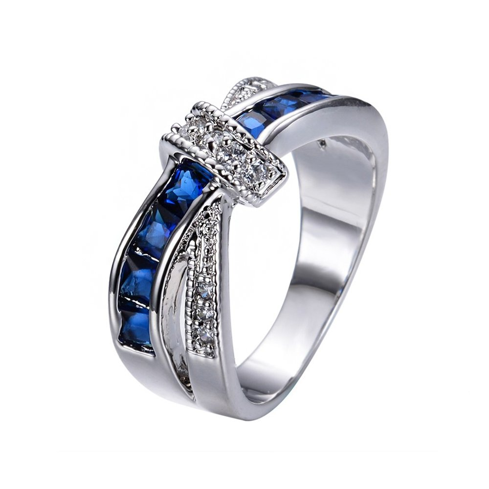 Crossed Wedding Bands.Amazon Com Size6 10 Blue Sapphire Wgf Knot Crossed Wedding Rings