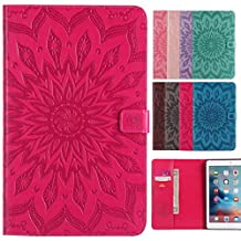 LEMORRY Apple iPad mini 4 Case Leather Flip Wallet Pouch Slim Fit Bumper Protection Magnetic Strap Stand Card-Slot Soft TPU Tablet PC Holster Cover for Apple iPad mini4, Blossom (Red)