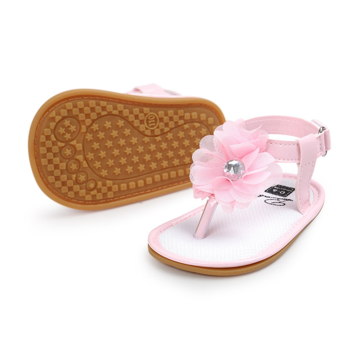 BEBARFER Baby Girls Sandals Toddler Infant Cute Flowers Anti-Skid Rubber Sole First Walkers Summer Shoes
