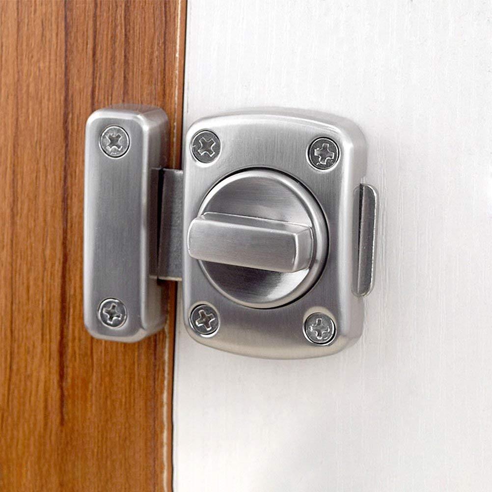Plata Pestillo de Puerta Rotaci/ón Bolt latch Puerta Cerraduras Seguridad puerta tornillos Latch Catch Cerradura para puerta Ventana Pestillo Apto para Todo Tipo de Puertas Pestillo de Ba/ño