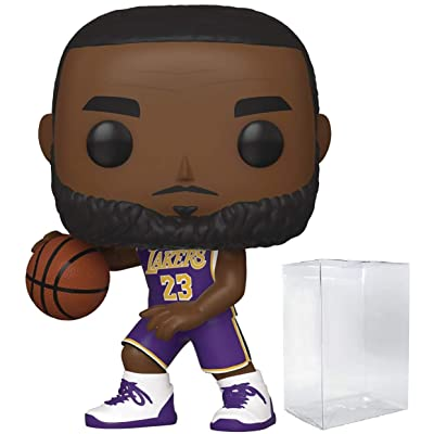 Lebron James LA Lakers Purple Jersey POP! Sports NBA Action Figure (Bundled with Pop Protector to Protect Display Box): Toys & Games