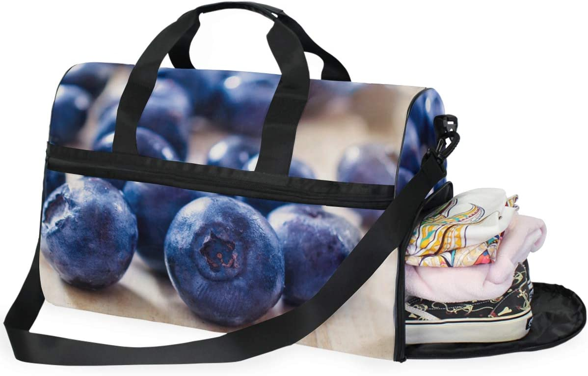 MALPLENA Fresh Fruit Blueberry Pattern Packable Duffle Bag For Men Women Tear Resistant Sports Duffle