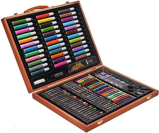 Wuxingqing Lápices de Colores Sketch Set Arte de Madera de Lujo para niños en Caja de Madera para Principiantes Regalo para niños en Estuche de Madera Acuarela Pintura para Colorear Plumas: Amazon.es: