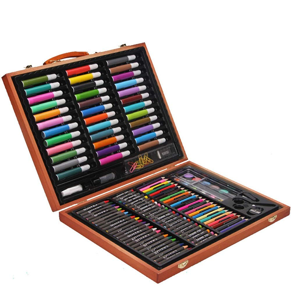 DERTHWER Children's Watercolor Pen Set Deluxe Wood Art Set for Kids in Wooden Box for Beginners Kids Gift in Wooden Case Colored Pencil Set DIY Painting Tools (Color : Natural, Size : Free Size)