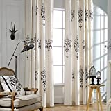 Cheap KoTing Home Fashion Classical Cream White Cotton Linen European Style Abstract Black Crystal Lamp Embroidery Thermal Insulated Blackout Lined Curtains Drapes Grommet Top,1 Panel,50 by 96-Inch