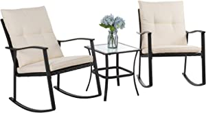 Vongrasig 3 Piece Outdoor Rocking Chair Set, PE Wicker Rattan Small Patio Rocking Bistro Set, Front Porch Furniture Rocking Chairs Set of 2, Cushioned Patio Rocker Chair Set with Glass Table (Beige)