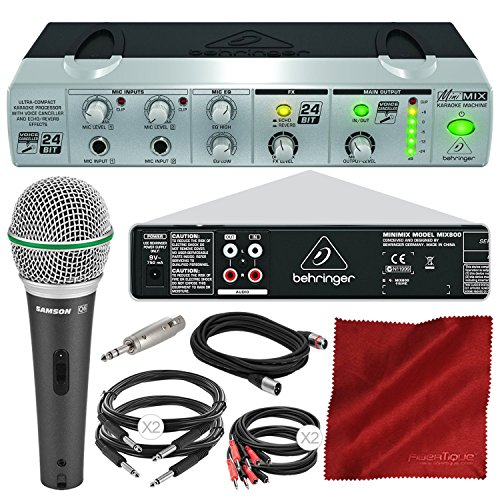 Behringer MINIMIX MIX800 Compact Karaoke Machine with Voice Canceller and Samson Microphone, Cables, Deluxe Bundle