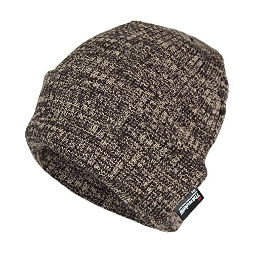 Classic Thinsulate Ribbed Cable Knit Beanie Hat- Warm Acrylic Cuff Winter Cap (Brown)