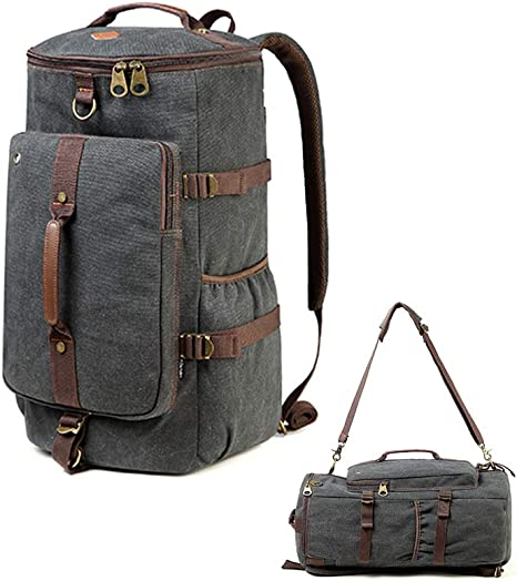 Ventcy Canvas Backpack Duffle Bags Overnight Bag For Men Large Weekend Backpacks Vintage 3 Ways Rucksack Traveling Hiking Rucksacks 40l Black Amazon Co Uk Luggage