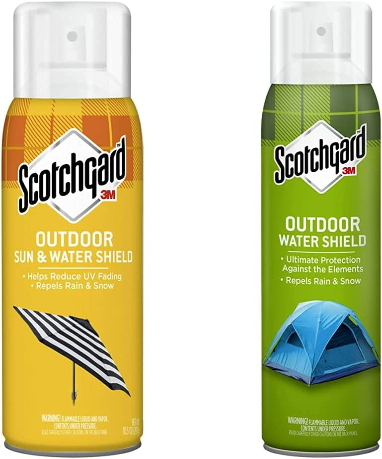 Scotchgard Sun and Water Shield, Repels Water, 10.5 Ounces & Heavy Duty Water Shield, Repels Water, Ideal for Outerwear, Tents, Backpacks, Canvas, Polyester and Nylon, 13 Ounces