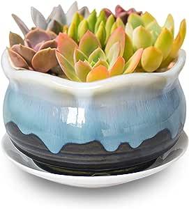 Dahlia 5.5'' Inch Rustic Drip Glazed Ceramic Planter/Succulent Pot/Plant Pot, Turquoise