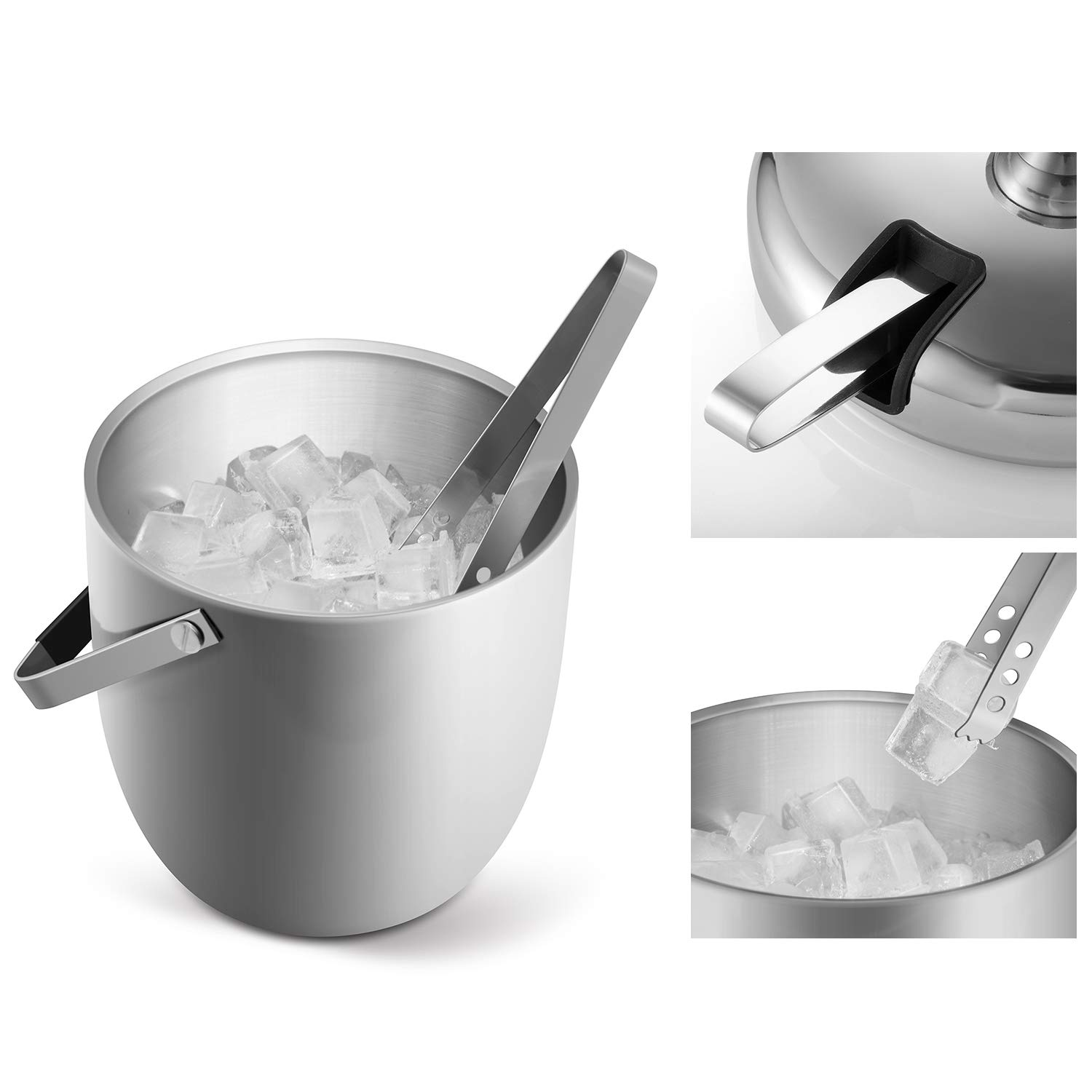 Lid Fortune Candy Insulated Ice Bucket Double Walled Stainless Steel Ice Bucket with Ice Tongs Scoop and Exclusive Handmade Nylon Holder 2.8 L Silver//Navy Blue