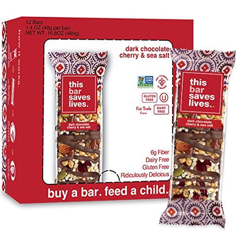 All Natural Whole Food Bar (This Bar Saves Lives, All-Natural Gluten Free Whole Food Energy Snack Bar-- High Fiber Health Snack, Dairy Free, Kosher and Non GMO Dark Chocolate Cherry & Sea Salt Granola Bar, 1.4 Ounce, 12 Bars)