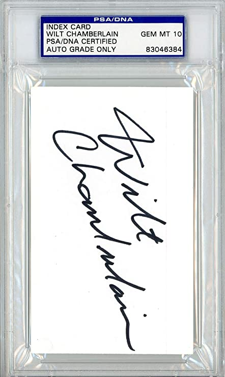 Wilt Chamberlain Autographed 3x5 Index Card Los Angeles Lakers Gem ... 8fff2ae10