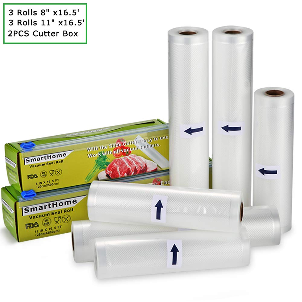 "Smarthome Vacuum Sealer Rolls with Cutter Box 6 Pack 3 Rolls 8"" x16.5' and 3 Rolls 11"" x16.5' Food Storage Bags Rolls Commercial Grade Bag for Food Saver and Sous Vide"