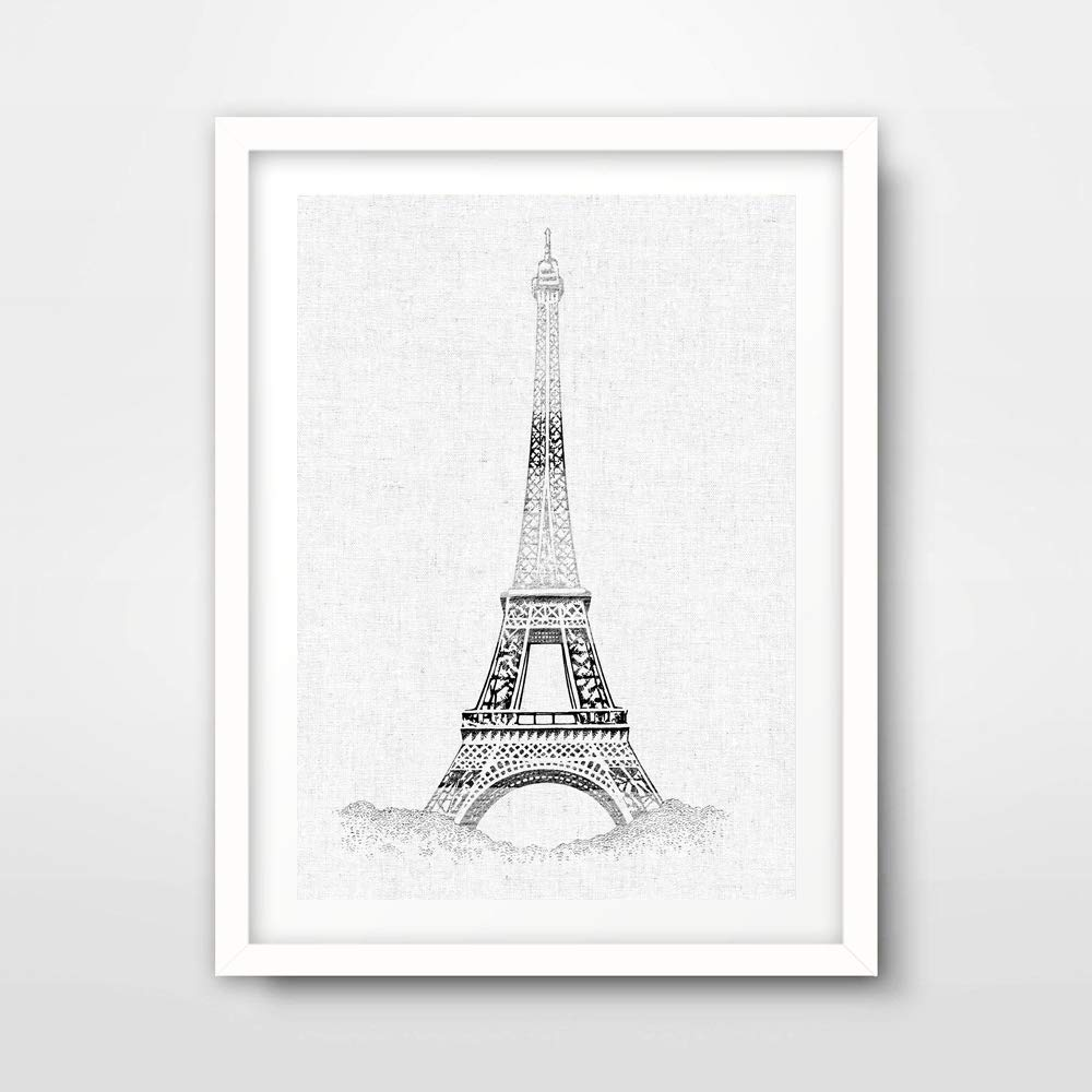 Amazon Com Paris Eiffel Tower Black And White Illustration Drawing Art Print Poster French France Home Decor Wall Picture A4 A3 A2 10 Size Options Handmade