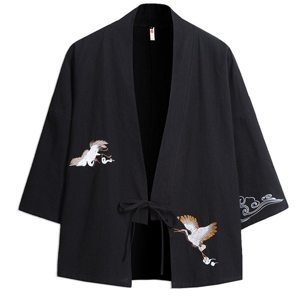 Zhhlinyuan Kimono Jacket Men Womens Loose Thin Cloak Chinese Style Cardigan Casual Short Coat,Plus Size 3//4 Sleeve