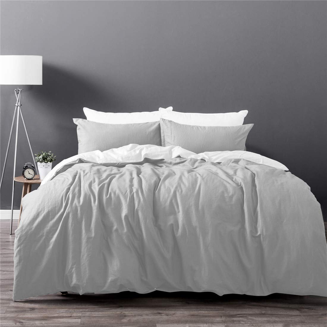 Dreamaker Soft Cotton Linen Duvet Cover Set w/ Pillowcase 180TC Button Enclosure Twin XL Queen King Size Bedding Set (White, Twin XL) JHT Manufacturing