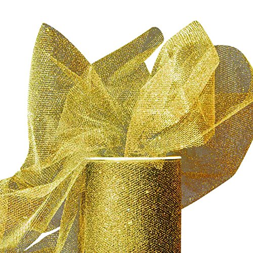 Sparkling Tulle Ribbon Rolls - 25 Yards - 6 Inches Wide (SPARKLING - Gold) ()