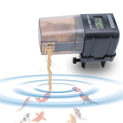 Luxebell Dispensador automático de alimento para peces con pantalla LCD, alimentador de peces de 170