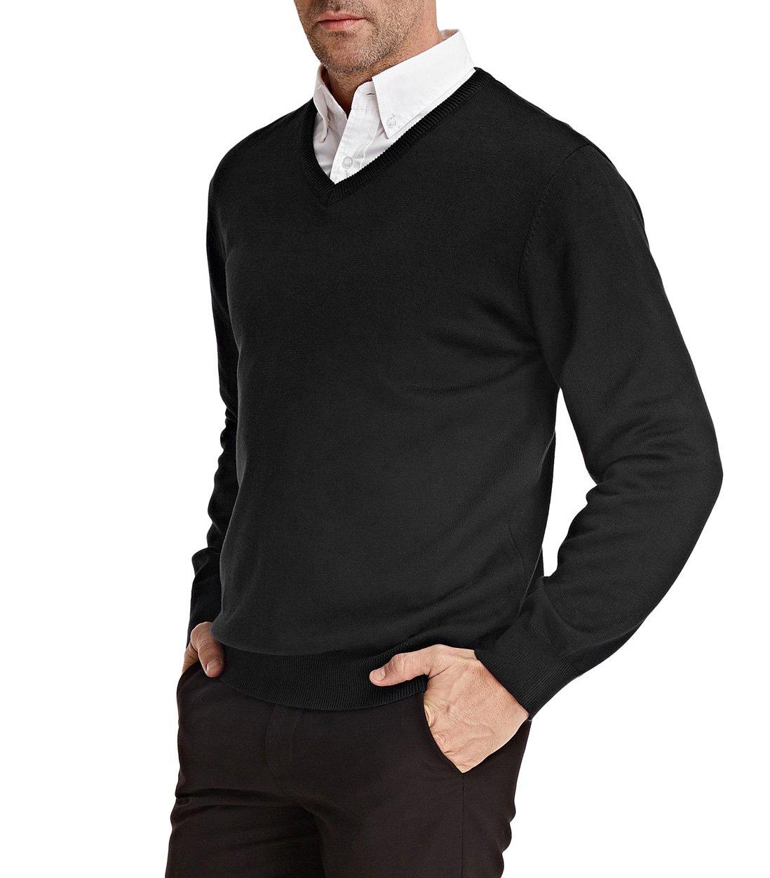 PAUL JONES Men's Slim Fit Pullover Sweater Cotton Lightweight Size XL Black by PAUL JONES