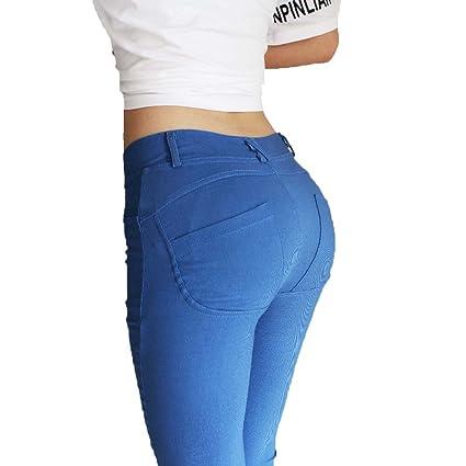 BAINA Ultra Damen Enge Stretch-Hose Push up Hose Stretch Röhrenjeans Slimfit Jeggings Leggings