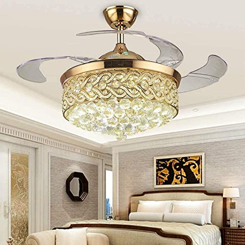 Lighting Groups 42 Inch Invisible Ceiling Fans with Light Romote Control,4 Retractable Transparent Blades Fan Chandelier,Modern Luxury Crystal Ceiling Fan for Indoor Living Dining Room Bedroom Gold C