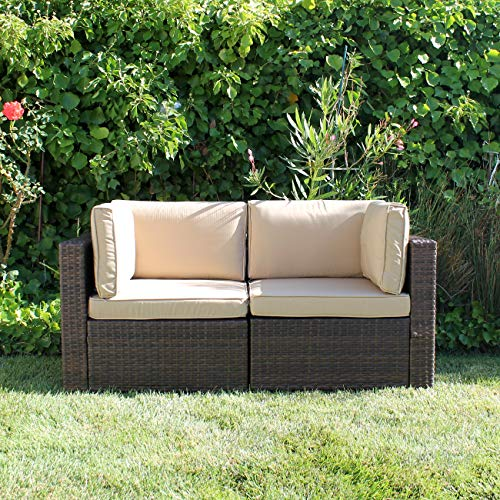 Patiorama Outdoor Loveseat All Weather Rattan Loveseat Brown Wicker Patio Sofa Chairs Additional...