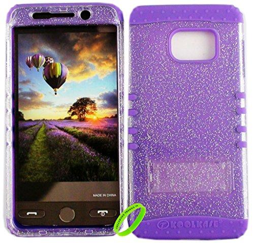 Samsung Galaxy S6 Edge Plus Cellphone Trendz Dual Layer Soft Hard Hybrid High Impact Protective Cover - Transparent Gliter Smoke Snap Design Hard Case on Purple - Snap Case Hard Smoke