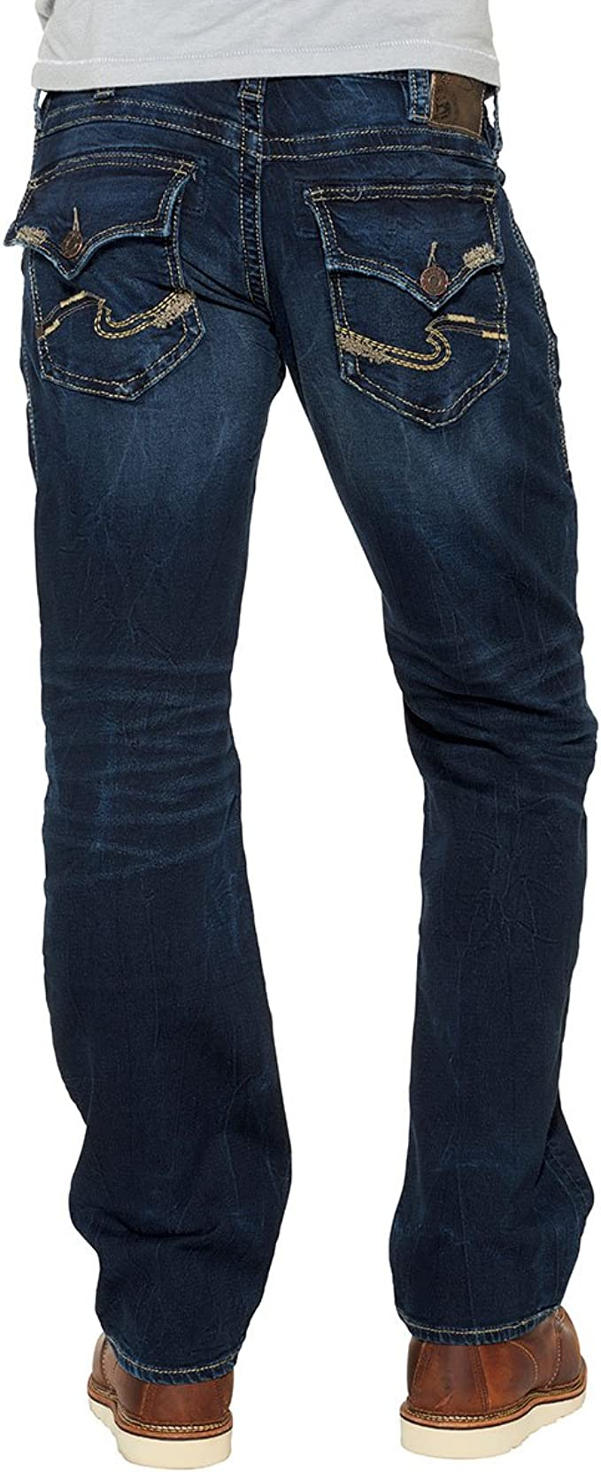 Silver Jeans Co Mens Zac Knit Relaxed Fit Straight Leg Jeans