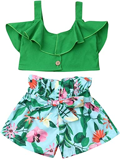 Casual Toddler Boys Baby Kids Girl Floral Print Tops+Shorts Outfit Set Clothes