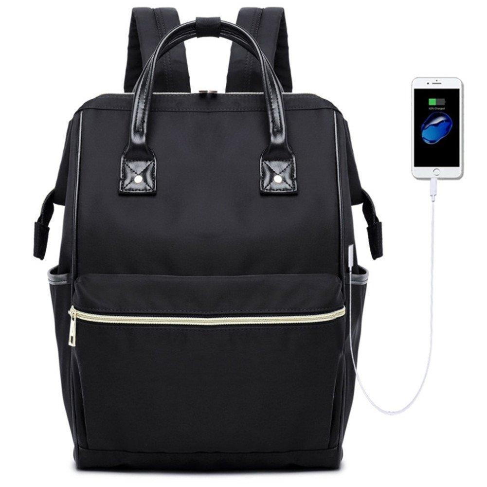 Laptop Backpack 15.6 Inch Laptop Bag with USB Charging Port Water Resistant College School Business Travel Computer Bag for Women Men (Black)