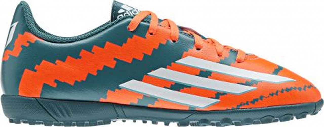 adidas Boys' J Messi 10.4 TF J Boots-Green/Orange/Silver, Size 3.5
