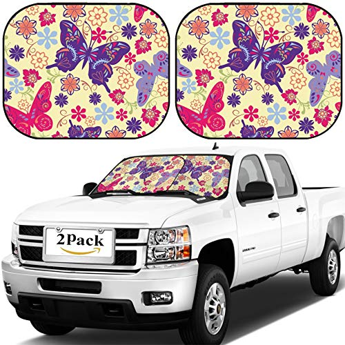 (MSD Car Windshield Sun Shade, Universal Fit, 2-Piece for Car Window SunShades, Automotive Foldable Protector Cover, ID: 42077944 Vector Art Decoration Seamless Wallpaper Pattern of Butterflies and fl)