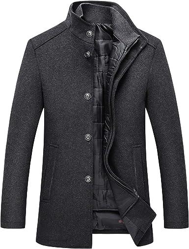 manteau homme court,Manteau court en laine noir manteau