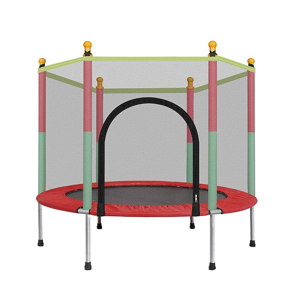 Gartentrampoline Trampolin Kinder-Indoor-Trampolin Indoor-Trampolin-Sprungbett Kinder-Fitness-Trampolin mit Schutznetz (Farbe : ROT, Größe : 140  140  122CM)