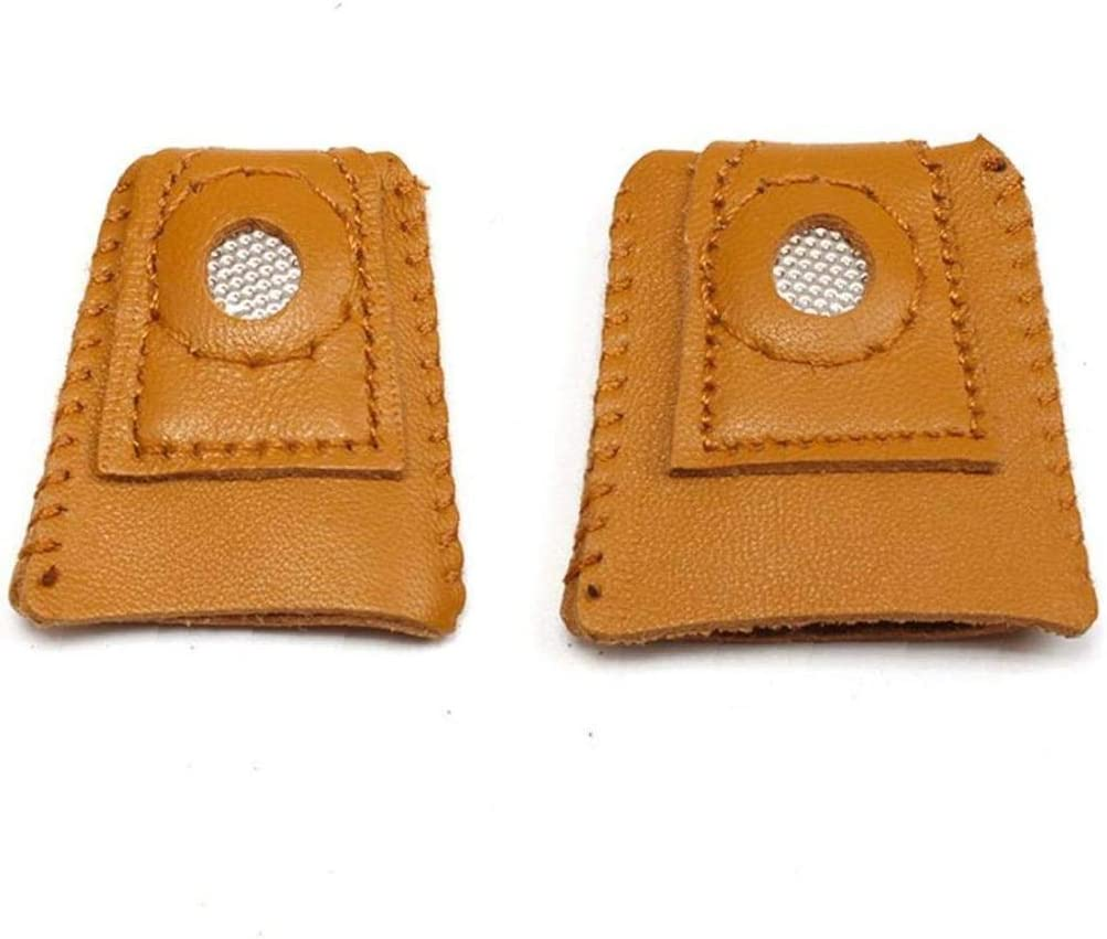 Finger Sleeve Leather Coin Thimble with Metal Tip Handmade Needlework Thimble Cover for Sewing Embroidery Craft Tool
