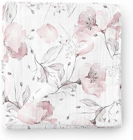 Manta de muselina para bebé Aenne Baby, Amapola rosa floral ...