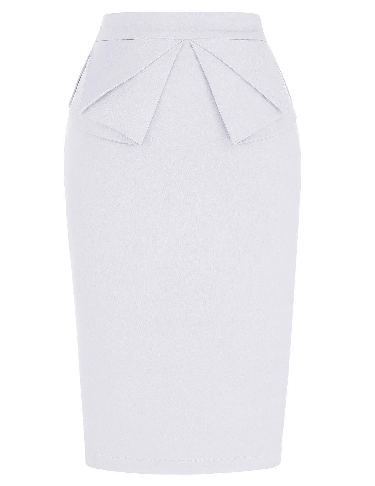 PrettyWorld Vintage Dress Solid Slim Stretchy Pencil Skirt for Women Knee Length White (M) KL-7 CL454