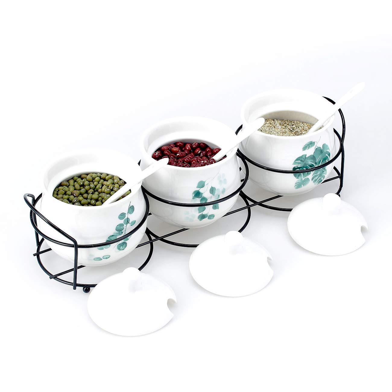 Tray Condiment Pots w//Serving Spoons Set of 3 Black /& White Ceramic Floral Tree Motif 7-oz Spice Jars