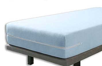 Velfont – Elastischer Matratzenbezug mit Reißverschluss, Frottee Baumwolle Matratzenauflage | Matratzenschonbezug - 90 x 190/