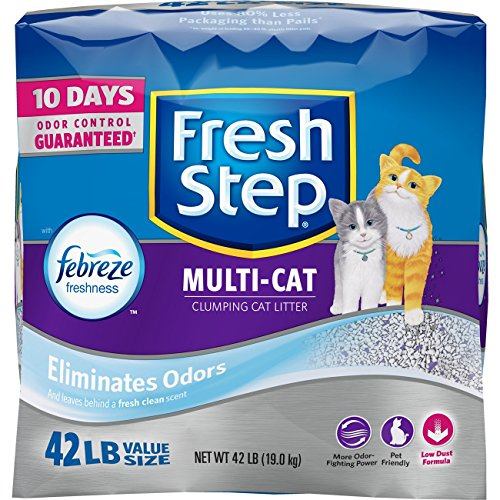 Fresh Step Multi-Cat Scented Litter with the Power of Febreze, Clumping Cat Litter, 42 Pounds