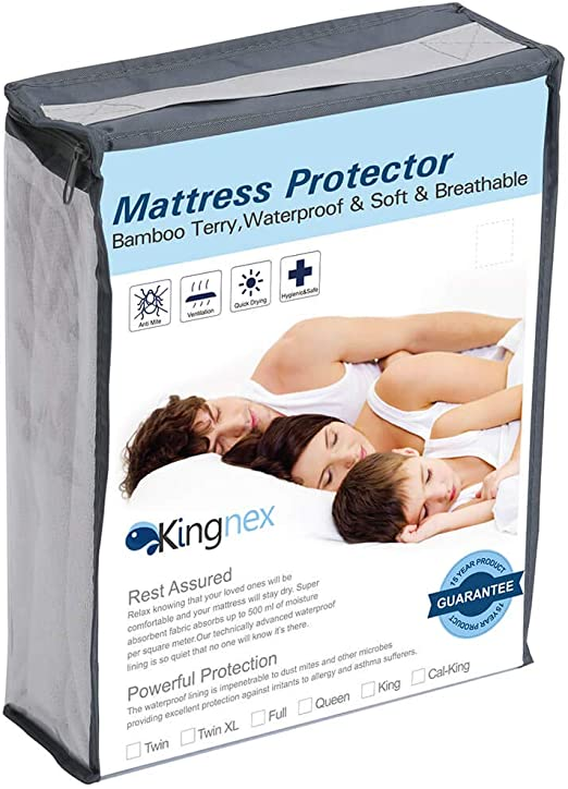 Kingnex All Polyester Queen Size Mattress Protector White