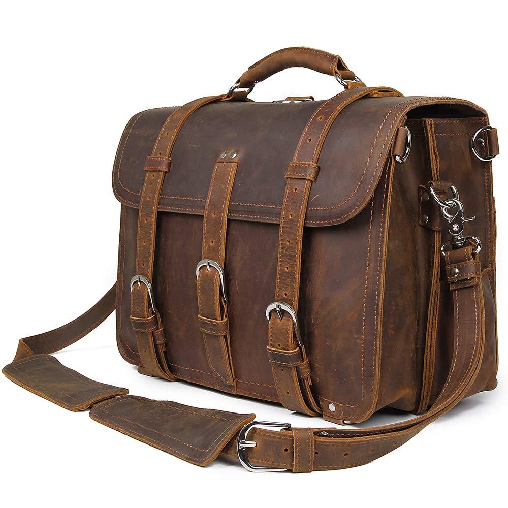 Kucspp Men's Full Grain Leather 16'' Briefcase Shoulder Messenger Bag Fit 15.6'' Laptop Briefcase Tote