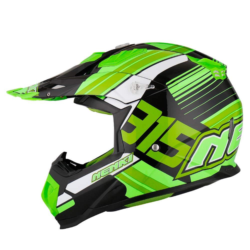 ECE Homologado NENKI Casco Motocross NK-315 para Hombres y Mujeres Negro Amarillo Blanco, S