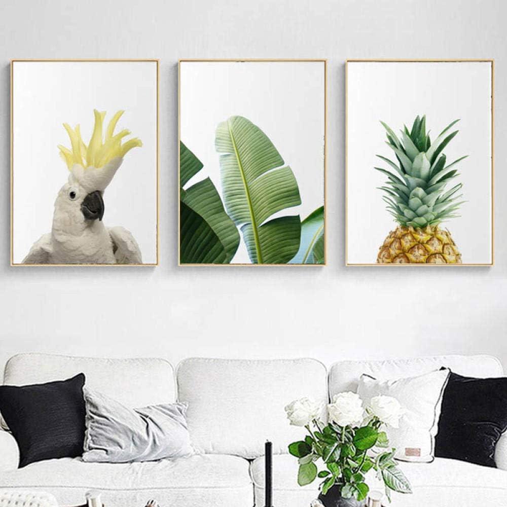 ELMSART Pintura de Pared Moderna Impresiones de Arte de Pared Tropical Hoja de plátano Impresión de Lienzo Botánica Piña Pájaro Sala de Estar Decoración para el hogar 50x70cmx3 sin Marco
