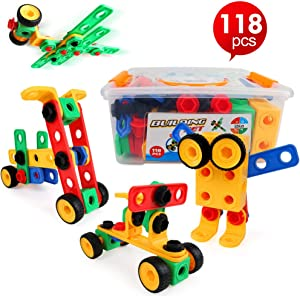 LBLA STEM Building Toys for Boys and Girls Age 3 4 5 6 7 8 9 10 Year Old STEM Learning Toy Kit Educational Construction Engineering Building Blocks Set Gift for Kids Creative Fun Games (118 Pieces)